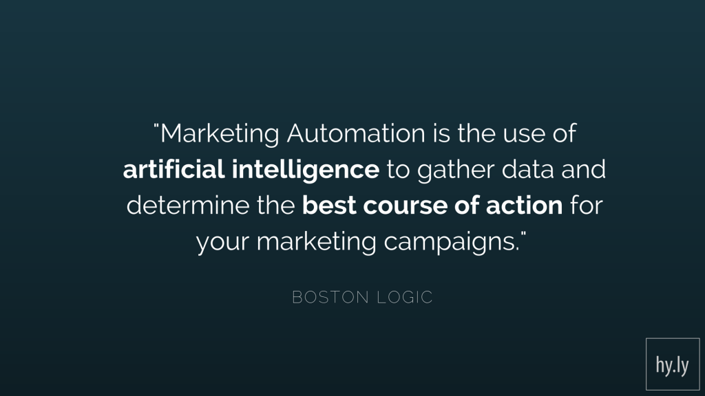 Marketing Automation is the use of artificial intelligence to gather data and determine the best course of action for your marketing campaigns.