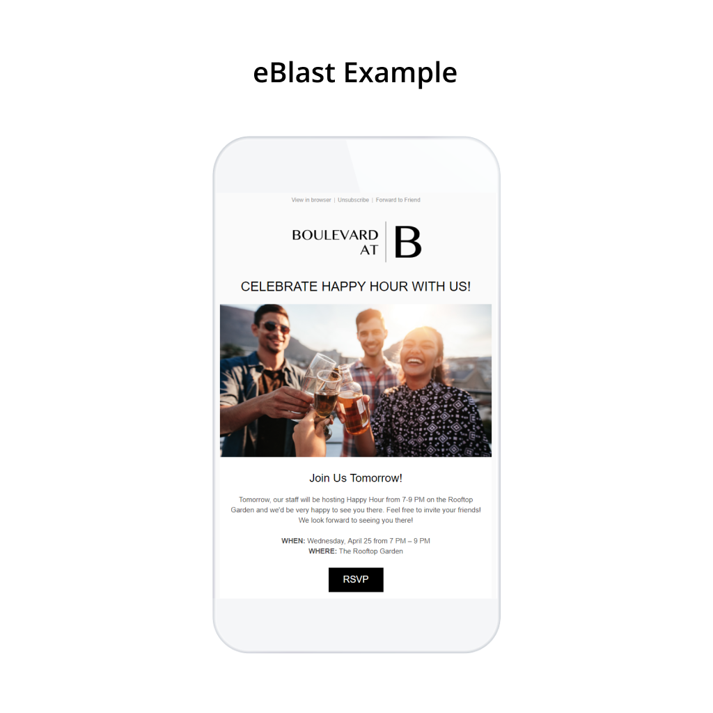 Here's an example of an eBlast Email