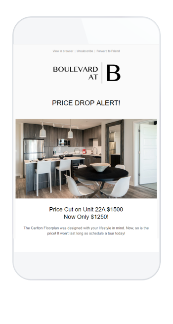 Floor Plan Price Drop Email Sample